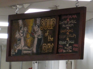 One of the Soupmeister's daily menu lists.