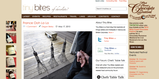 Screen shot of Tiny Bites food blog