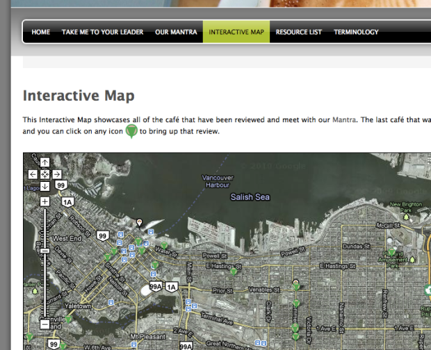 CoffeeVancouver's interactive map
