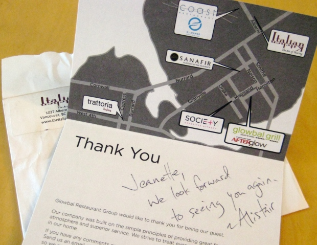 Hand written note of thanks