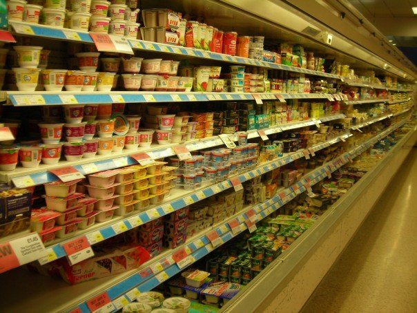 The dairy aisle in a British grocery store.