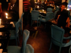 The CornerSuite Bistro's blue chairs