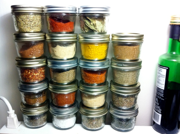 Some of my spice selection... This site above my stove and adds colour to my kitchen all the time!