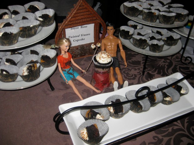 S'more Cupcakes with camping Ken & Barbie