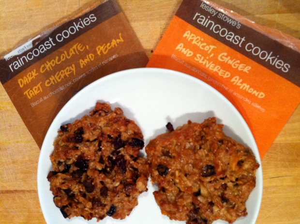 Two of Lesley Stowe's new Raincoast cookie flavours