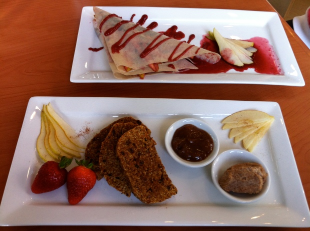 Top: sinfully healthy fruit crepe; and bottom: the heavenly cinnamon toast