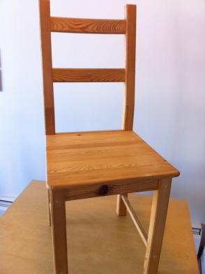 BEFORE: a plain ikea chair