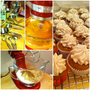 Day 1 with the Kitchen Aid resulted in pumpkin cupcakes with chai spice frosting.