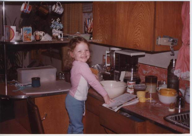 Jeanette LeBlanc helping bake in Terrace, BC, at the approximate age of 3 or 4.