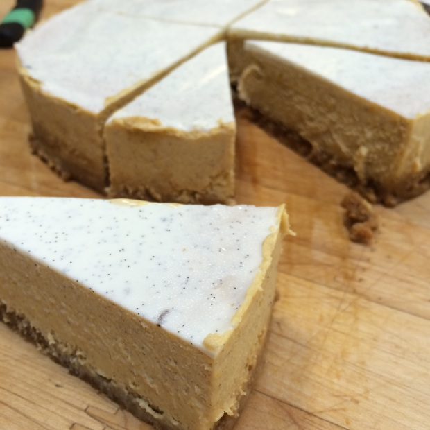 White Chocolate Pumpkin Cheesecake on a Gingersnap Crust. Enough said.
