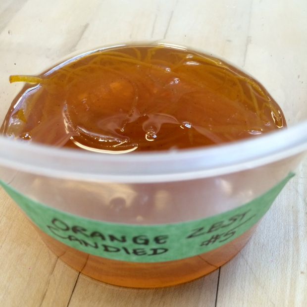 We made candied orange zest. It was easy and looks great on a plate, and its tastes great.