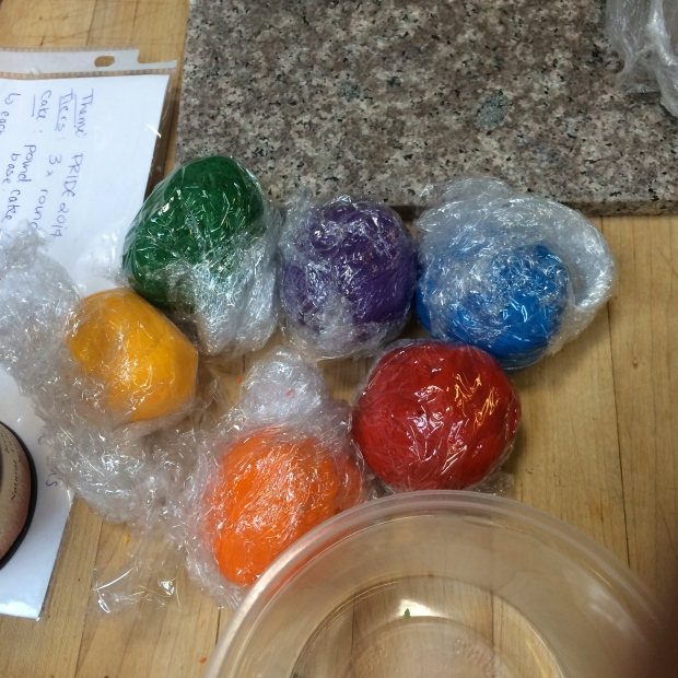 Rainbow gumpaste! My station partner kneaded in the colour to each of these balls of gumpaste - it was a lot of work.