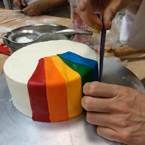 Adding the rainbow strips.