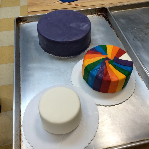 Three tiers made on day two, ready to stack on the third day.