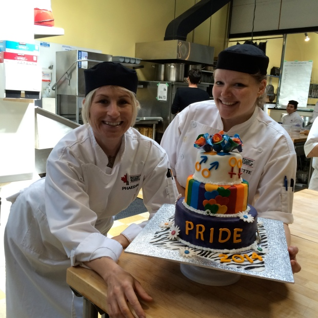 My station partner and I, proud of our final cake!