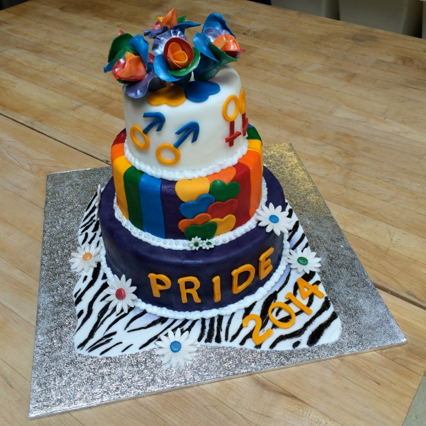 VOILA! Our finished cake, 2014 Pride themed.