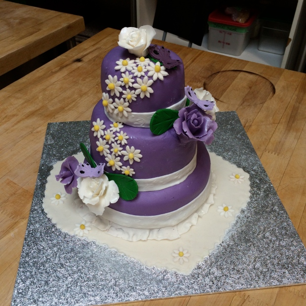 Another team made this cool purple floral cake.