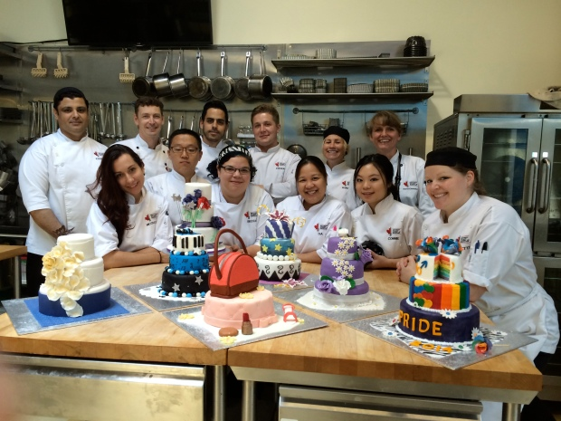 A proud class photo, with our Chef instructors too, and all our celebration cakes!