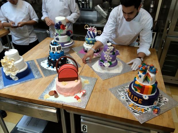 Seven celebration cakes.