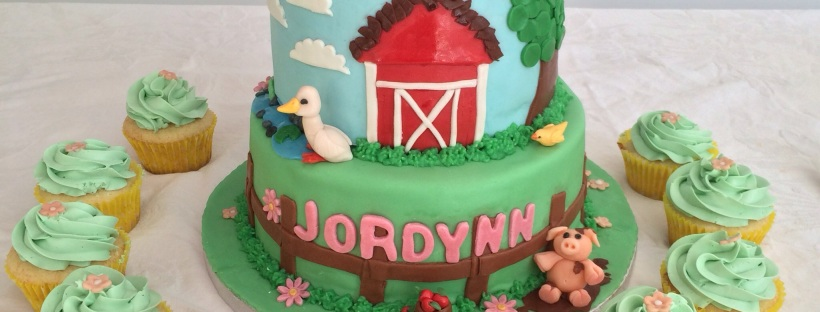 First birthday cake, barnyard theme fondant custom cake