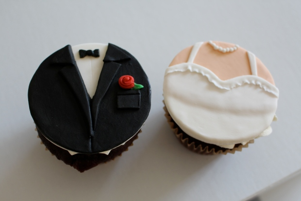 Wedding cupcake toppers, bride and groom.